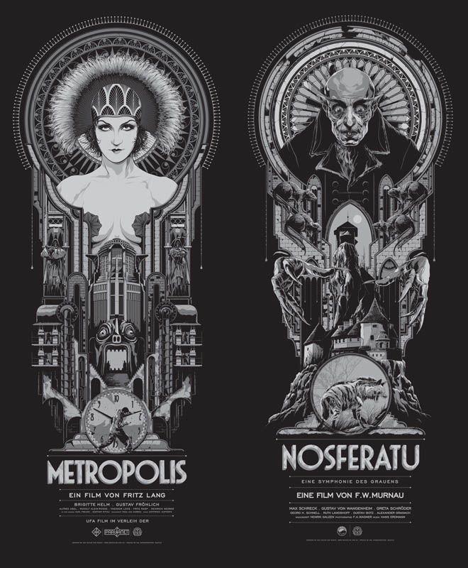 アールデコ風「メトロポリス」と「ノスフェラトゥ」のポスター。オシャレ。 https://t.co/B6fWYpC0RY