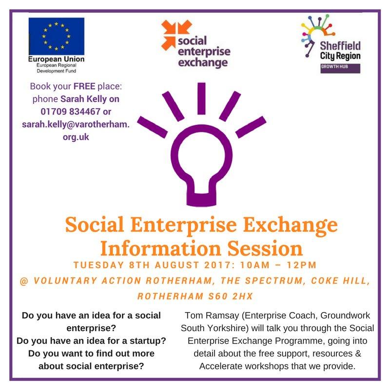 Got a new #SocialEnterprise business idea? Find out how @socentxchange can help you @VARotherham #Rotherham #SocEntX  http://www. varotherham.org.uk/event/free-soc ial-enterprise-exchange-information-session/ &nbsp; … <br>http://pic.twitter.com/Mi59LMwB3b