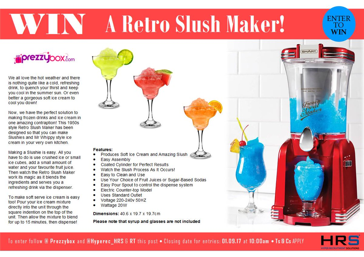 #Competition #giveaway #WIN a #Retro #Slush Maker! To be in with a chance simply RT and follow @Prezzybox &amp; @Hyperec_HRS #icecream #summer<br>http://pic.twitter.com/jLcTU0m0yb