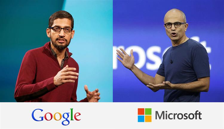 Whom you love the most? Retweet for @sundarpichai &amp; like for @satyanadella  India-born CEO #Google #Microsoft #TuesdayThoughts<br>http://pic.twitter.com/KJKWn5cjWT