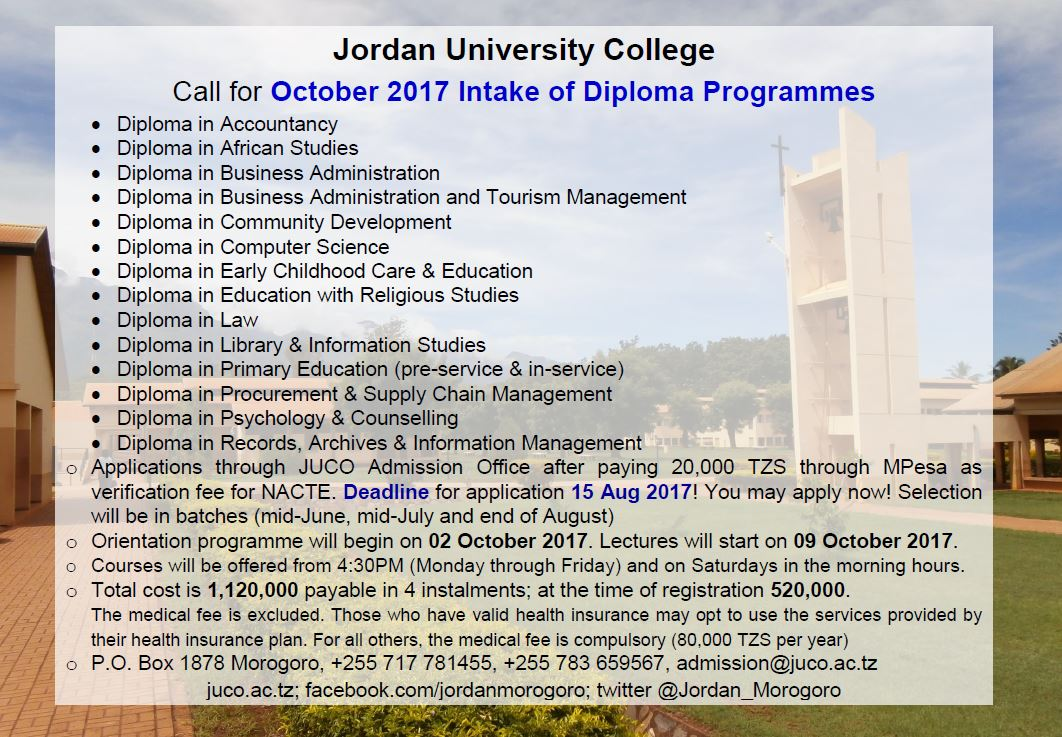 October intake of Diploma Programmes #JUCO #Morogoro #Tanzania #GainWithXtianDela #admission #twitter  #diploma #education <br>http://pic.twitter.com/YeWXdTLckG