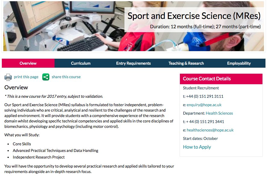 Our new MRes in Sport &amp; Exercise Science is now available! Click on the link:  http://www. hope.ac.uk/postgraduate/p ostgraduatecourses/sportandexercisesciencemres/ &nbsp; …  #research #postgraduate<br>http://pic.twitter.com/Ndwsuu2QFX