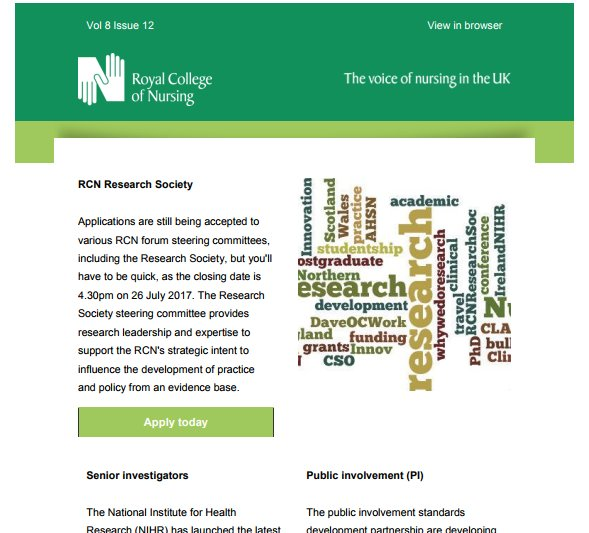 Latest @theRCN #research &amp; #innovation eBulletin out  https:// tinyurl.com/h9x9tyk  &nbsp;  . Free registration at  https:// tinyurl.com/gt7bbbg  &nbsp;  <br>http://pic.twitter.com/GshccI3O6J