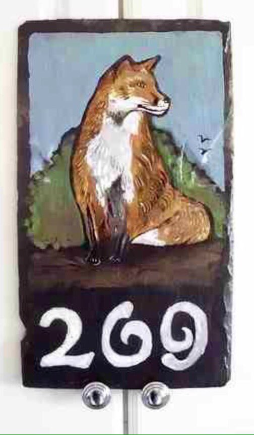 @AgainstHunting plz cud you retweet my fox sign as my support for this much loved misunderstood animal #fox #wallart #slate #wildlife xx<br>http://pic.twitter.com/Gw3uayALxT