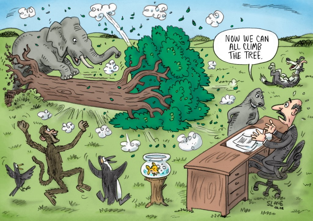 This is my answer to a classic &#39;climb that tree test&#39; cartoon. Know it? #education #disability #cartoon<br>http://pic.twitter.com/Prpohrw7GU