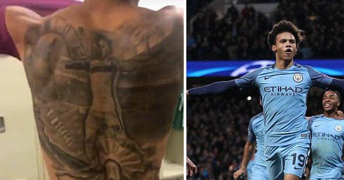 Manchester City Winger Leroy Sane Huge Tattoo Celebrating