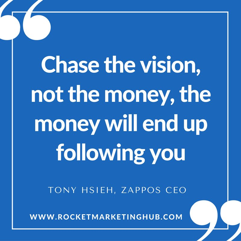 Chase the vision, not the money, the money will end up following you. —Tony Hsieh, @zappos CEO #motivationalquotes <br>http://pic.twitter.com/AReXkZGey2
