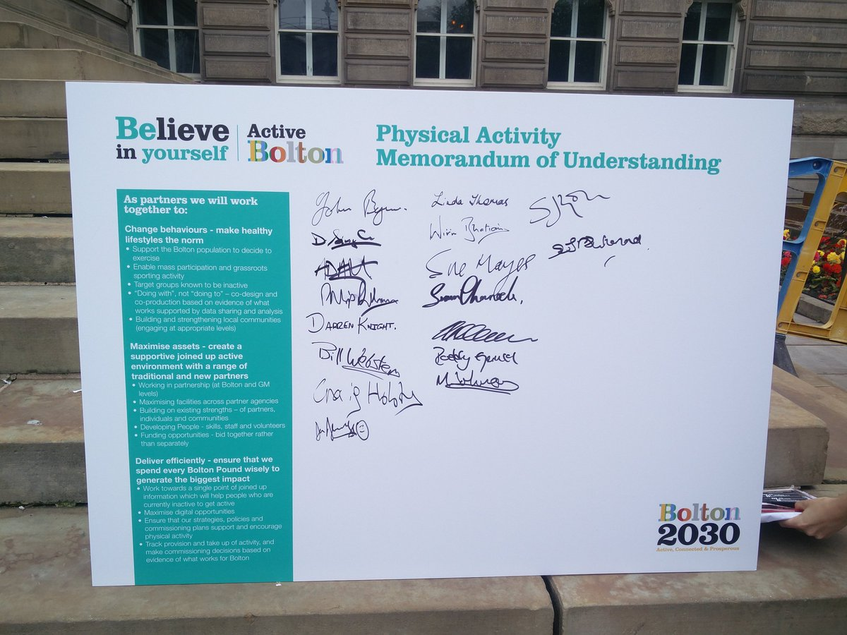 #Bolton2030 Partners have signed up to promote physical activity in Bolton #believeinyourself <br>http://pic.twitter.com/bHyktg7nTU