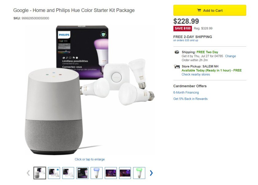 Deal: #google Home and Philips Hue Color Bulb Starter Kit, $228.99 ($100-off)  https:// goo.gl/uhkGEH  &nbsp;  <br>http://pic.twitter.com/xNnh1jJ89B