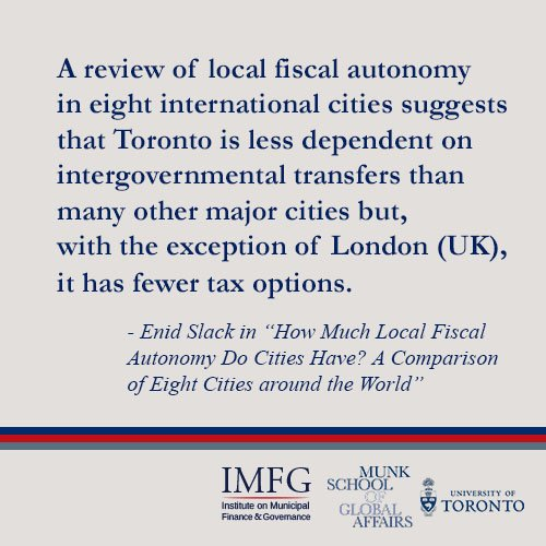 New IMFG Paper compares fiscal autonomy of 8 global cities; #Toronto has fewer tax options than almost all others  http:// munkschool.utoronto.ca/imfg/new-imfg- perspectives-paper-how-much-local-fiscal-autonomy-do-cities-have/ &nbsp; … <br>http://pic.twitter.com/WgqckClVp9