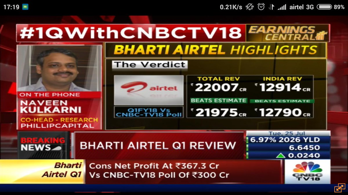 #BhartiAirtel beats estimates once again Surely @airtelindia #network has weakned considerably &amp; these numbers aren&#39;t sustainable #FireWorks<br>http://pic.twitter.com/LIyIfKwJ7W