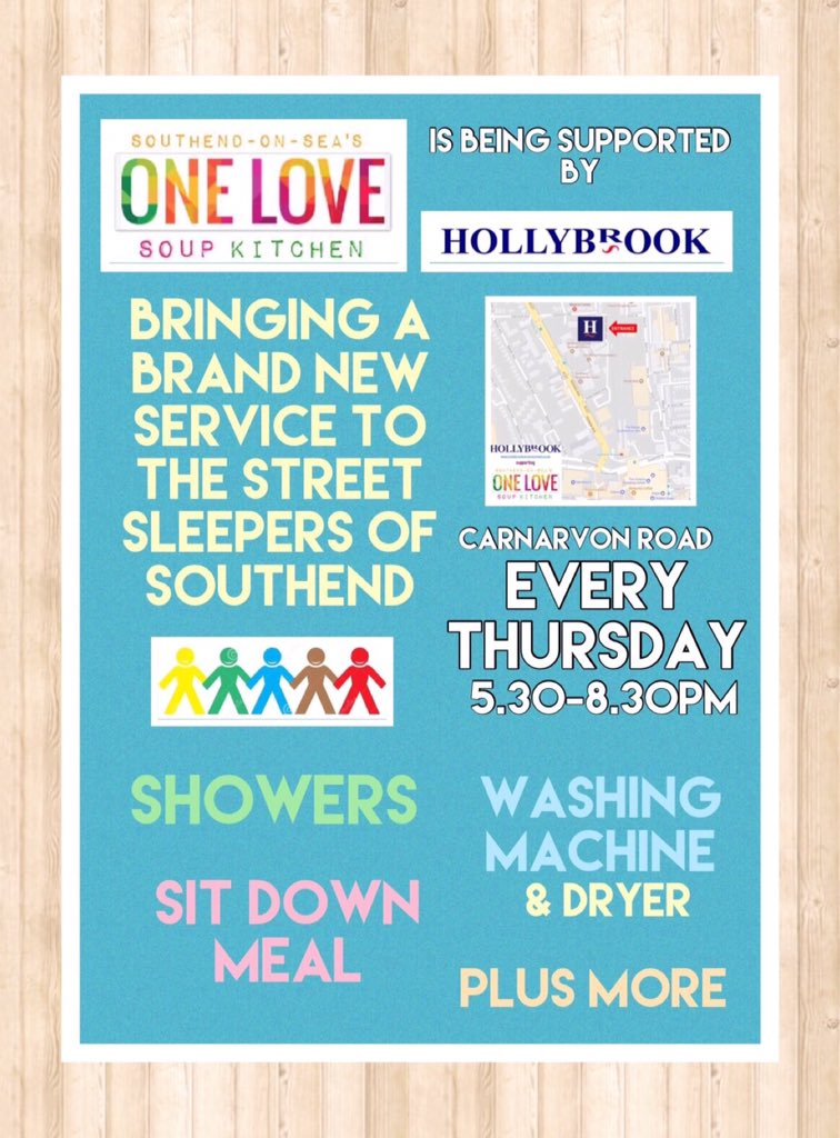 Please RT and follow - we are close to our opening new night @HollybrookHomes for #homeless #Southend - see below    https://www. hollybrookcarnarvonroad.co.uk/single-post/20 17/07/25/One-Love-Soup-Kitchen-Southend &nbsp; … <br>http://pic.twitter.com/o4IMjMOsWP