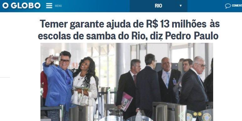 Temer, sem-noção, libera R$ 13 mi para a Liesa em plena crise fiscal. - https://t.co/kiyKmvm4g0