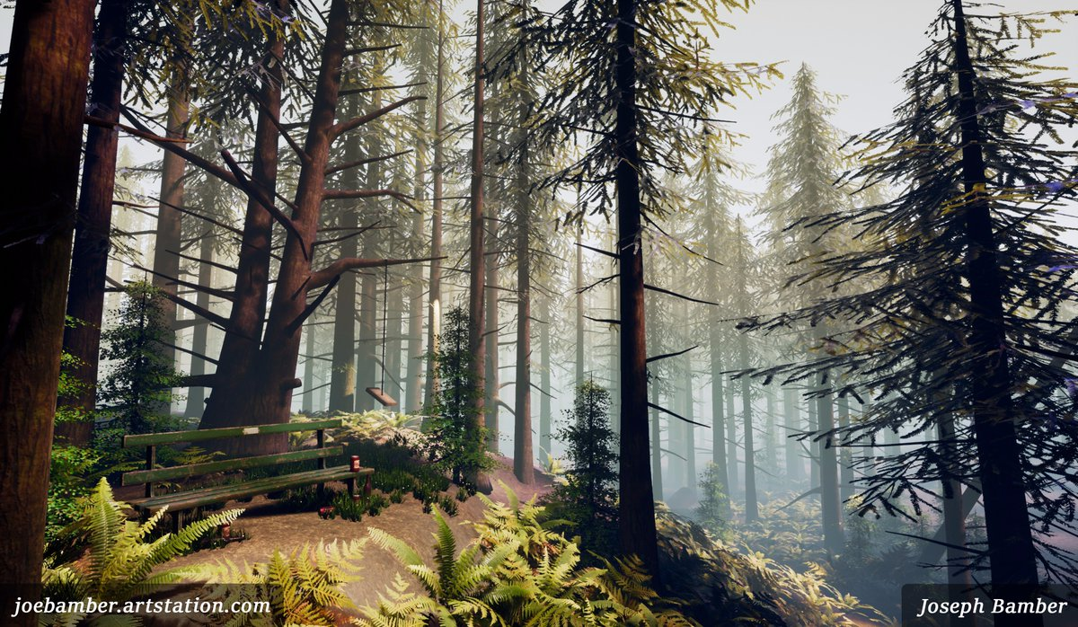 I revisited my pine forest scene in #UE4 from a couple months ago, wanted to make some improvements. More on my ArtStation #gameart #gamedev<br>http://pic.twitter.com/hO1fh9pJEx