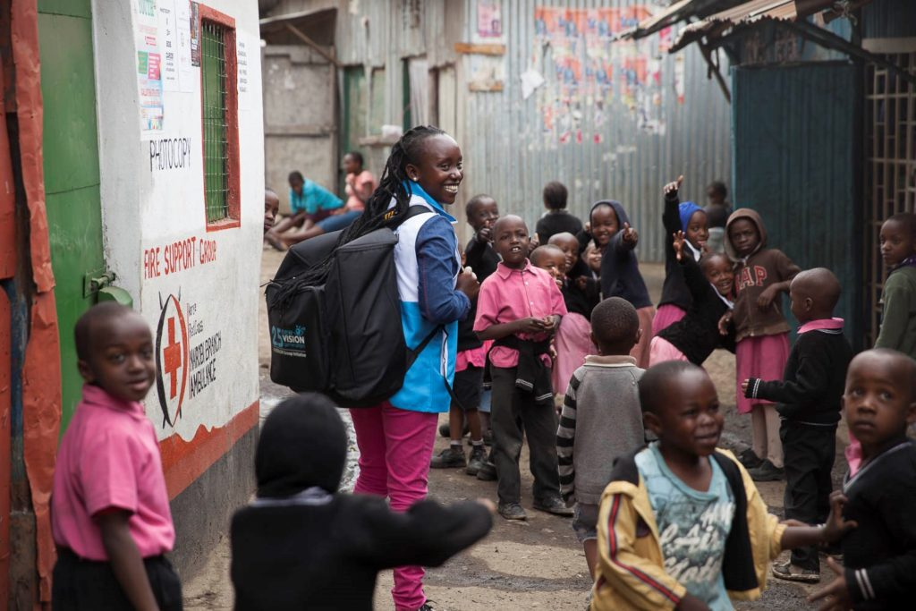 Domiana Mwikali - an @Essilor Vision Ambassador in #Nairobi - walking through her neighbourhood to bring #eyecare to people's doorsteps. <br>http://pic.twitter.com/YS68ULv9Fo