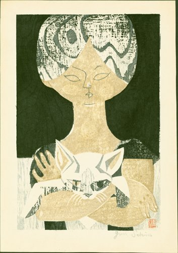 Girl with #Cat - A 1950s Japanese #woodblock print by Jun #Sekino Full collection at our sales gallery:  http://www. erawoodblockprints.com / &nbsp;  <br>http://pic.twitter.com/NSWVoVTiZJ