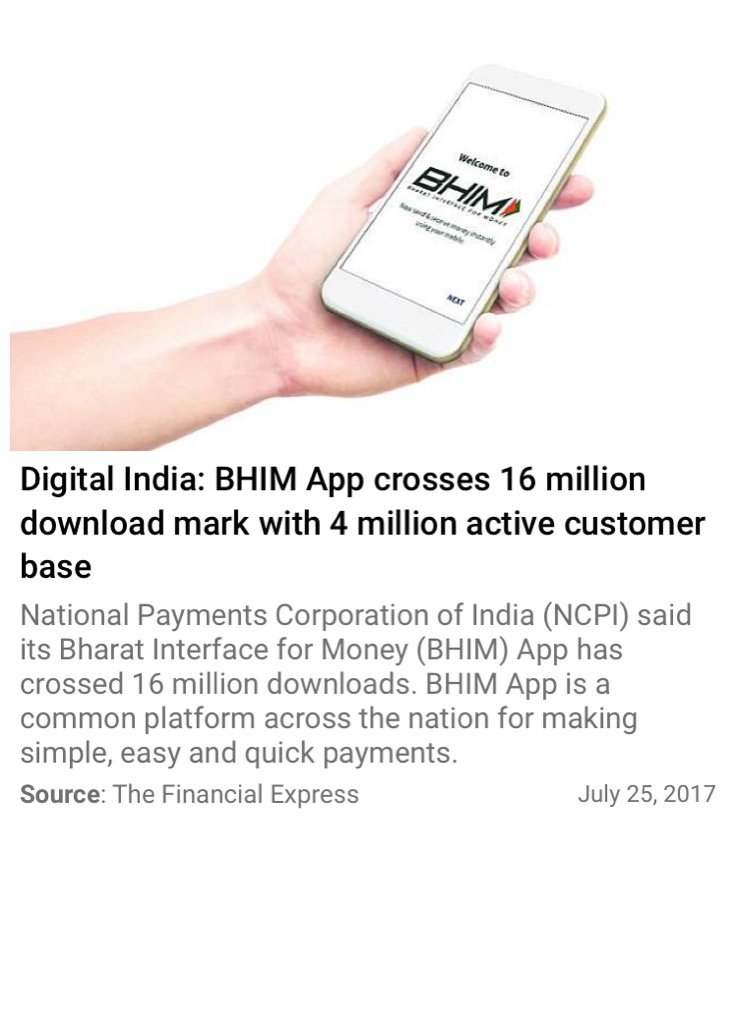 #BHIM App crosses 16 million download mark with 4 million active customer base @narendramodi   http://www. financialexpress.com/industry/techn ology/digital-india-bhim-app-crosses-16-million-download-mark-with-4-million-active-customer-base/777095/ &nbsp; … <br>http://pic.twitter.com/WHNAUaLSp6