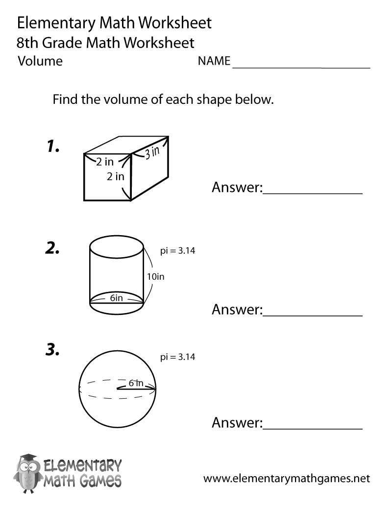 worksheet Volume Of Shapes Worksheet elementary math elementarygames twitter find the volume of different shapes in this free worksheet you can get it here httpwww elementarymathgames net8th grade worksheet
