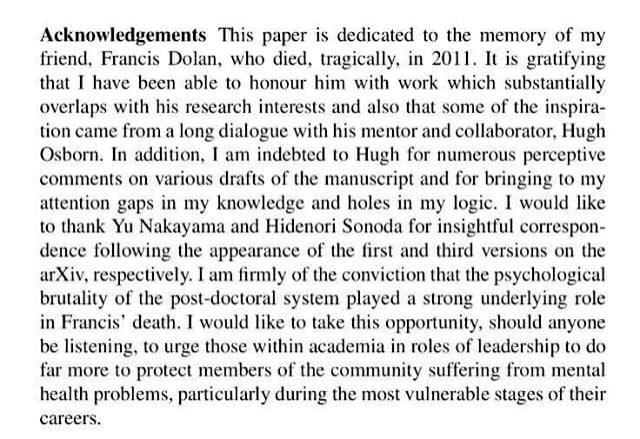 A major statement about #mentalhealt in #academia in the acknowledgents of this paper. #MentalHealthMatters<br>http://pic.twitter.com/wfO37kN4bs