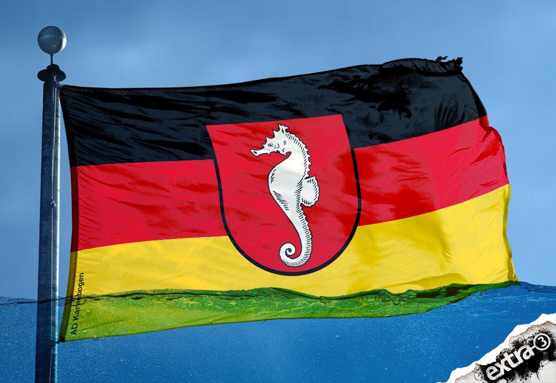 Konsequent: Niedersachsen passt Landesfahne dem Wetter an. #Dauerregen
