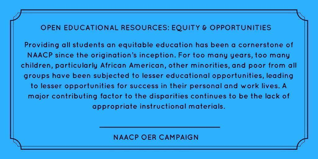 .@NAACP believes #OER can advance equity in education.   Their statement:  http:// buff.ly/2uwBivZ  &nbsp;    #NAACP108 #NAACP<br>http://pic.twitter.com/A3lAUJ263p