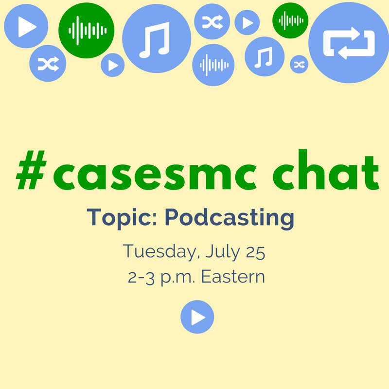 Join us for today's chat! We're exploring #highered podcasting with @JackieVetrano & @lougan. #casesmc #hesm https://t.co/QsrjlSGWae