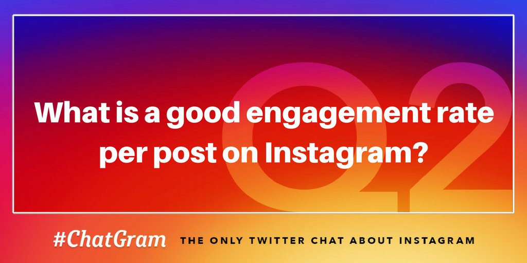 Q2: What is a good engagement rate per post on Instagram? #ChatGram https://t.co/fYsc7djHHl