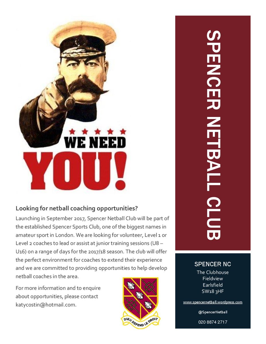 Coaches, Spencer Netball Club Needs You! Opportunities for L1 &amp; L2 coaches at a new junior club in Earlsfield #coachesmakethegame #coaching <br>http://pic.twitter.com/C6yfufAKu7