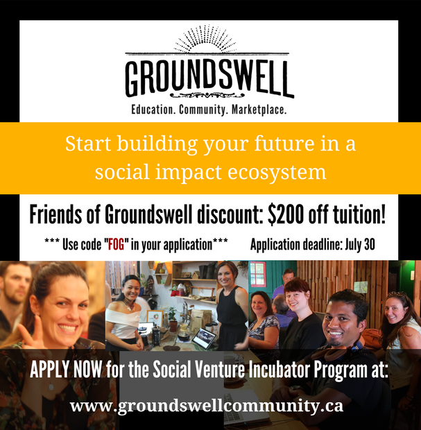 Have a social venture idea? Our friends @Groundswellyvr are offering a discount on their Social Venture Incubator Program #socent #socinn<br>http://pic.twitter.com/p8iaNRglNV