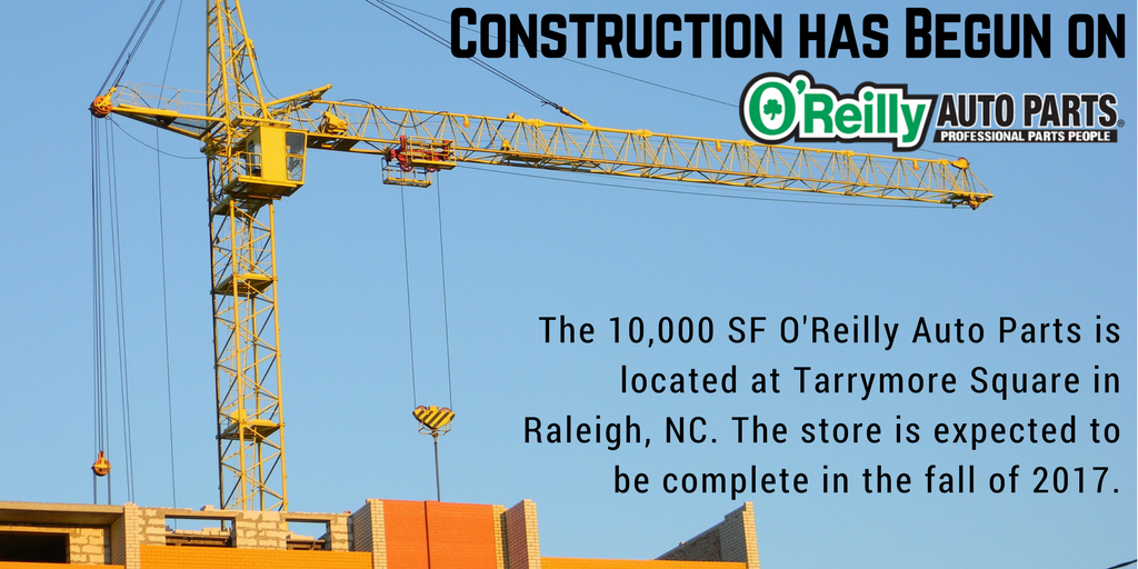 PRESS RELEASE: Construction has started on @oreillyauto at Tarrymore Square in Raleigh, NC.  #CRE #pressrelease  https:// goo.gl/SxBLDX  &nbsp;  <br>http://pic.twitter.com/op33BF8edA