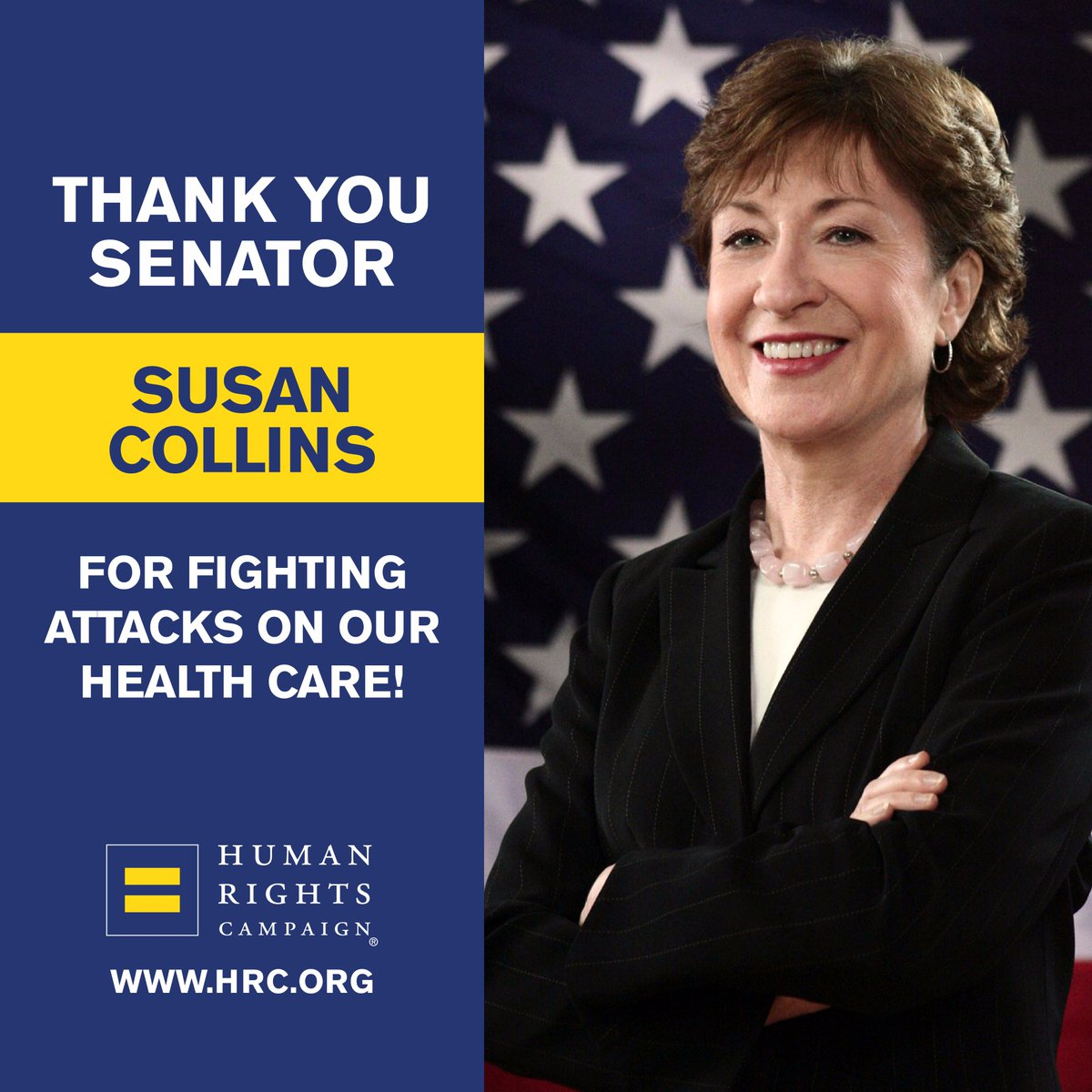 Thank you to Senators Collins and Murkowski for taking a stand to #SaveACA.