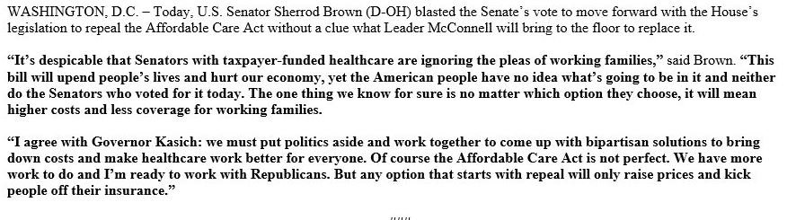 Ohio @SenSherrodBrown releases statement on vote, calling it 'despicable' #Obamacare #AHCA