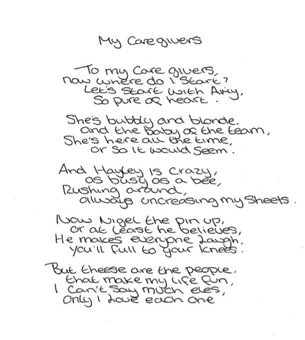 Was really touched by this lovely poem about the care provided by one of our teams #quality #believeingoodcare<br>http://pic.twitter.com/2j64kJMGfs