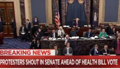 JUST IN: Protesters storm the Senate, as key vote begins https://t.co/VKDYfINzYj #tcot #AHCA #Obamacarerepeal