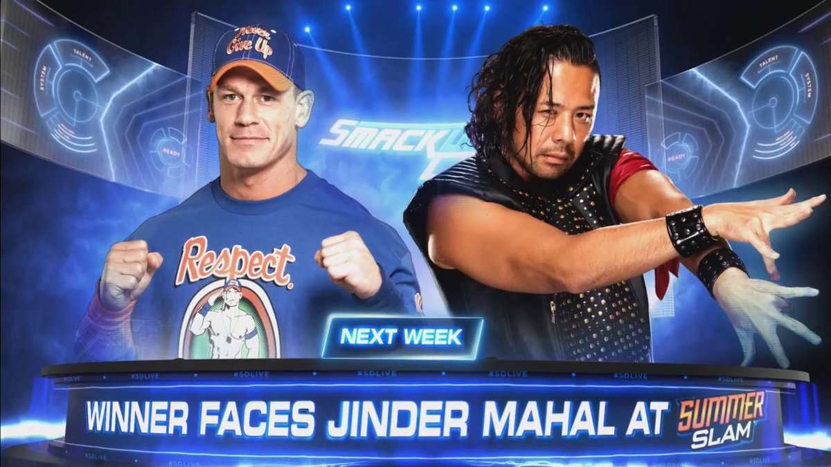 NEXT WEEK: @JohnCena goes one-on-one with @ShinsukeN on #SDLive with the prize being to challenge @WWE Champion @JinderMahal at #SummerSlam!