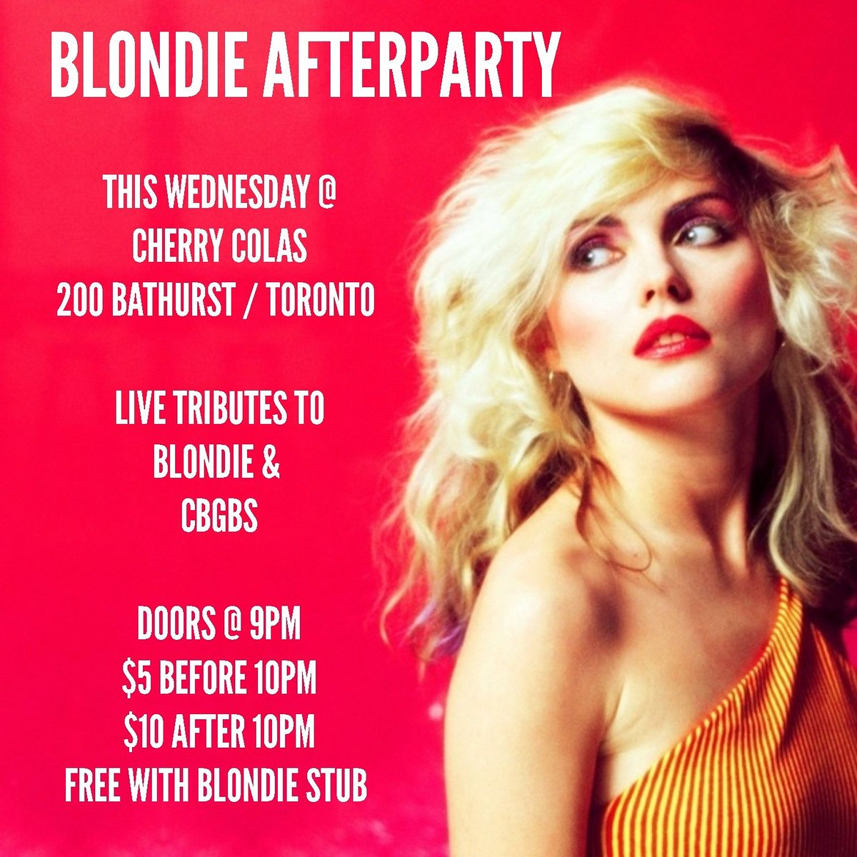 #Blondie afterparty WEDNESDAY @ @Cherry_Colas #Toronto live tribs to @BlondieOfficial And @CBGBofficial   #Ontario #Canada #livemusic #RT<br>http://pic.twitter.com/WKF2HT71CD