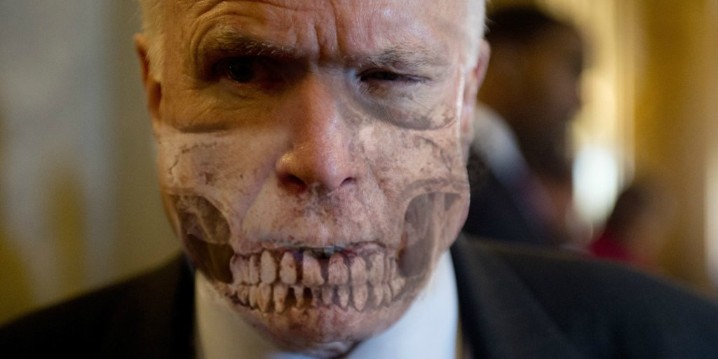 John McCain saved by free health care in time to revoke it from 32mil...