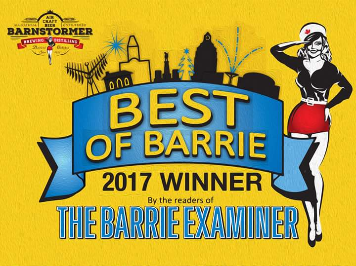 THANK YOU, @cityofbarrie, for voting Barnstormer the BEST #Restaurant and BEST #Brewery in town!  https:// goo.gl/t86MR8  &nbsp;   #AirCraftBeer<br>http://pic.twitter.com/RGbMFbvL4L &ndash; bij Barnstormer Brewing and Pizzeria