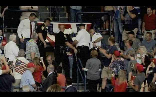 Police remove protestor from Trump rally during remarks of daughter-in...