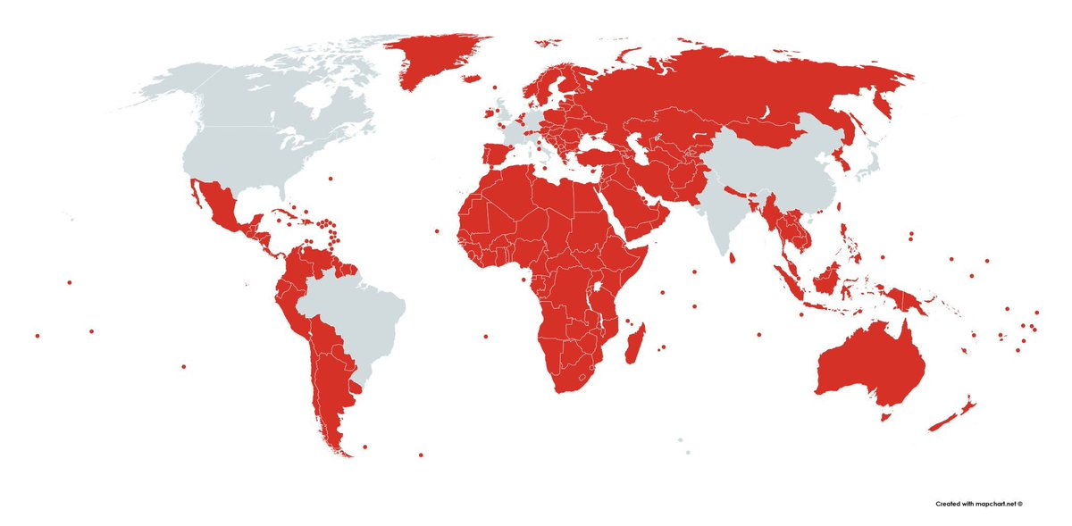 Countries in RED have smaller economies to the State of Texas #Perspective #Graphic <br>http://pic.twitter.com/i3VtnZTv5S