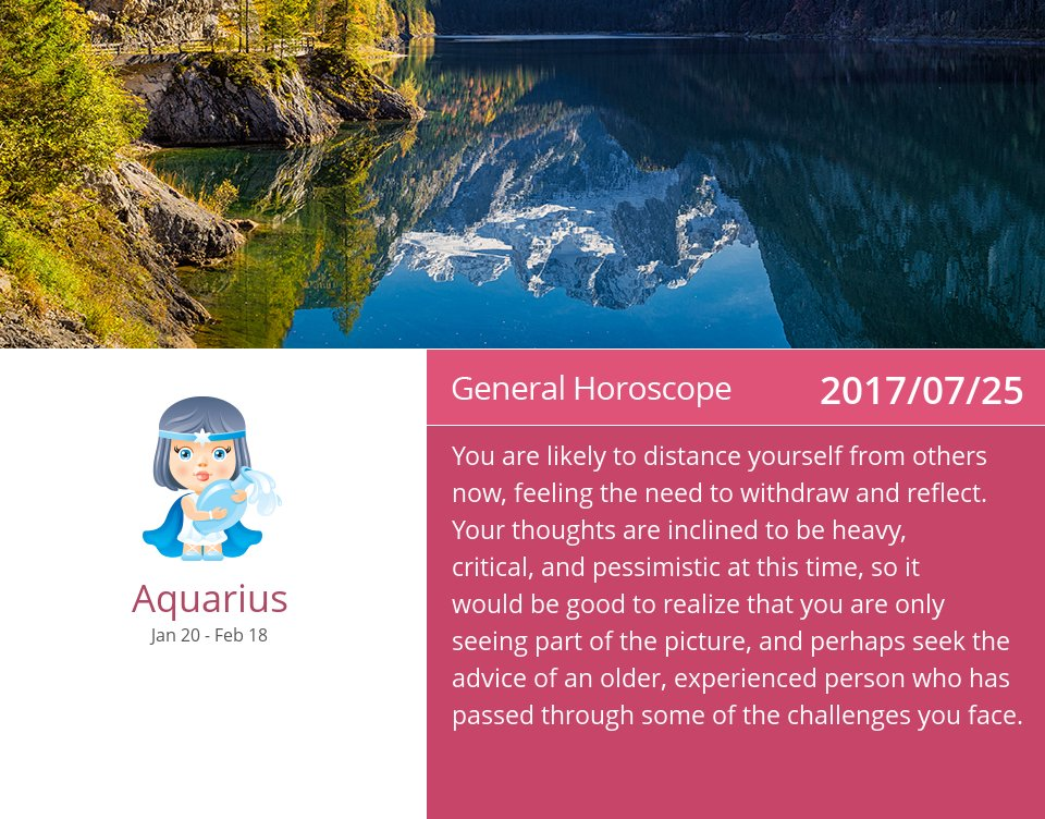 Jul 25, 2017: Daily Horoscope => See more: https://t.co/mFGmWTNzgG Accurate? Like = Yes #Aquarius #Horoscope https://t.co/tpJvPM5tNJ