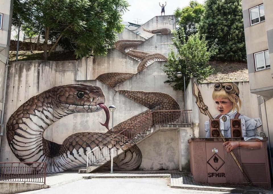 Snakes Alive by Sfhir, street art, 2017 #art #artist #color #colour #onlineart #graphic <br>http://pic.twitter.com/g2yIvvJUFT