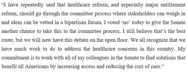 My statement on today on the motion to proceed vote.