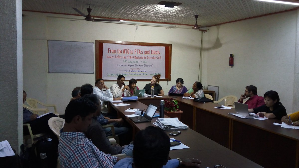 Civil society as part of #PeoplesConvention on #FTAs &amp; #RCEP at Hydrbd meet to discuss issues before #WTO Ministerial in Dec. Preparing <br>http://pic.twitter.com/EZI9sa0y9b