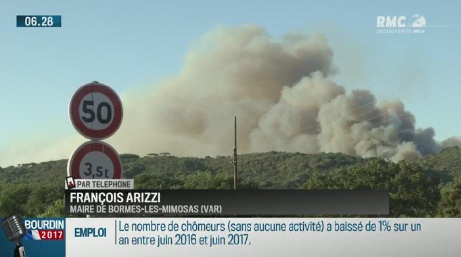 #incendies 'On pense à un acte criminel. Plus de 12 000 évacués dans la nuit' François Arizzi (Maire Bormes-les-Mimosas) #BourdinDirect