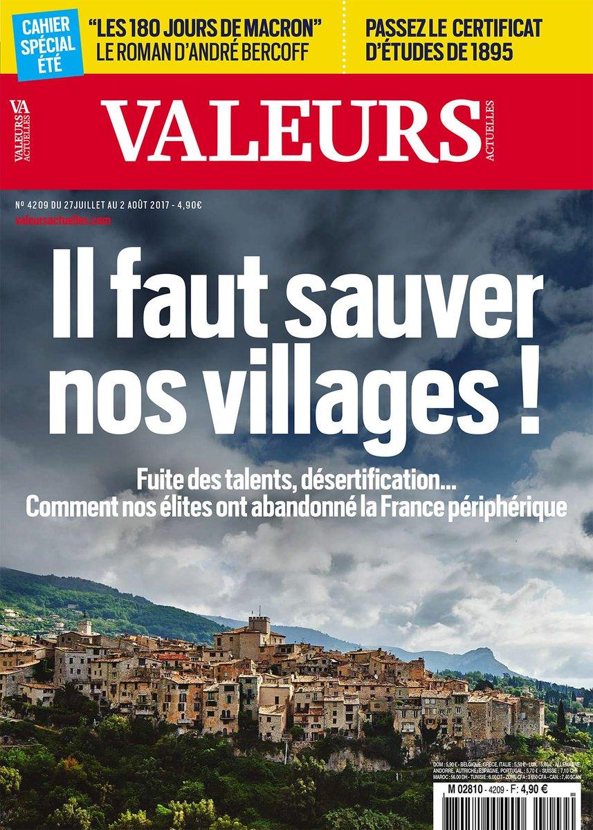 [A la Une] Fuite des talents, désertification... Il faut sauver nos villages ! Votre Valeurs à paraître demain >> https://t.co/nkSblEmHMA