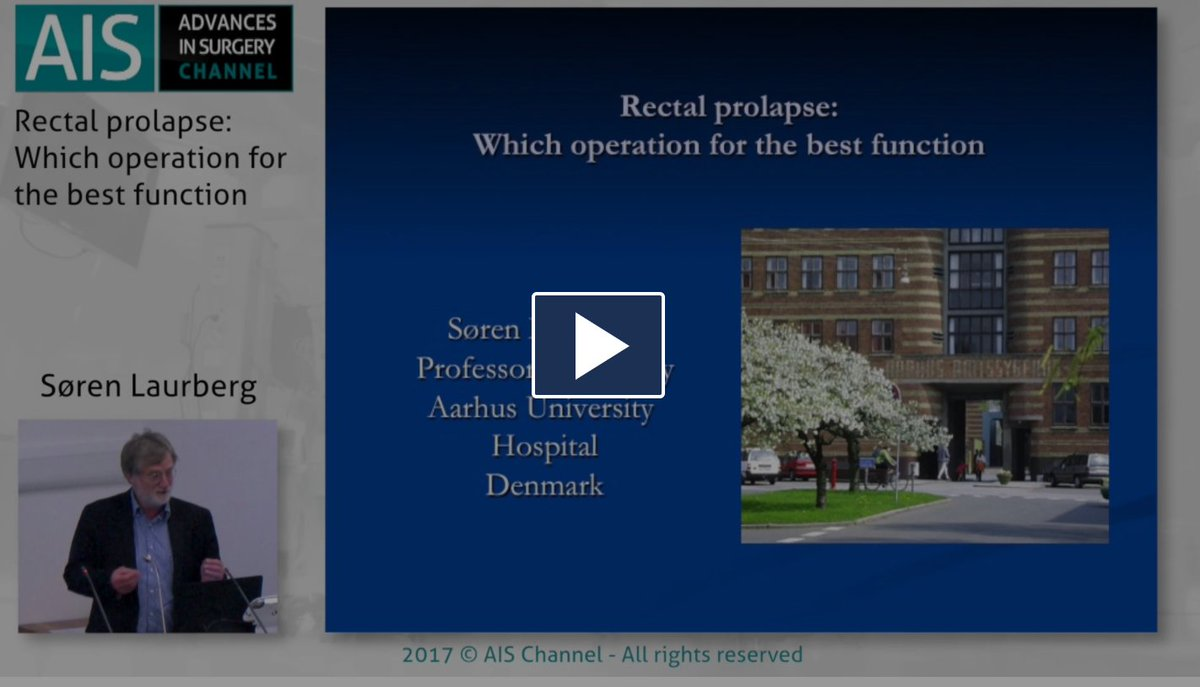 Rectal prolapse: which operation for the best function? by Soren Laurgberg from @AUHdk  https:// aischannel.com/society/rectal -prolapse-operation-best-function/ &nbsp; …  #colorectalsurgery #surgery<br>http://pic.twitter.com/c7ZnmpC5dm