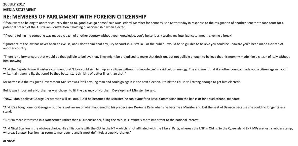 Bob Katter's media release on the Canava...
