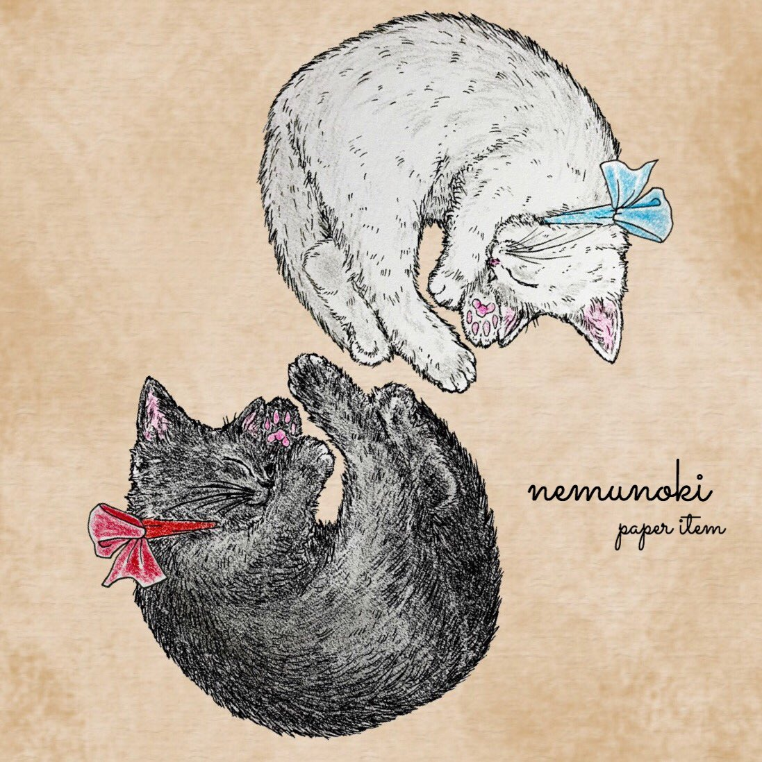 #一日一作品紹介 白猫ちゃんと、黒猫ちゃん。 これから展開予定の新しいキャラクターです。 さて、どんなアイテムにしようかな… パターンにしたらますますかわいい。 https://t.co/kj70Nldh1A