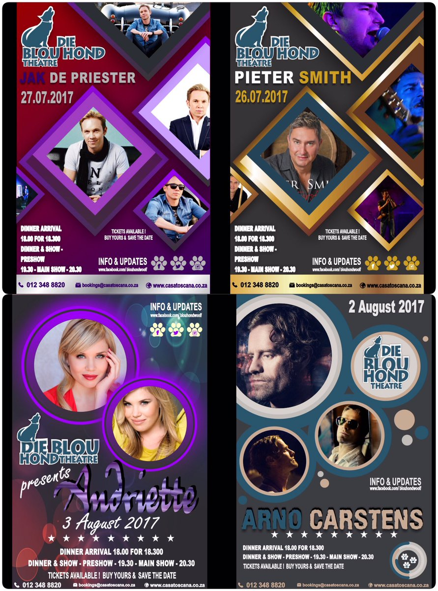 WOW! What a line-up! #bookNow to see your favourite artist at #blouhond #theatre #restaurant ... intimate #music #afrikaans @celebspottersa<br>http://pic.twitter.com/i5WFSTVBOH